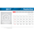 Year 2017 September month simple and clear design vector image vector image