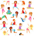 yoga kids seamless pattern girls and boys do vector image vector image