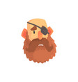 bearded man face with eye patch cartoon character vector image