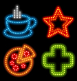 neon food set vector image