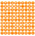 100 adult games icons set orange vector image vector image