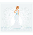 Beautiful bride with flowers card vector image vector image