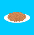 buckwheat cereal in plate isolated healthy food vector image vector image