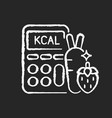 calories chalk white icon on black background vector image