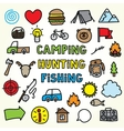 Cartoon camping icons vector image vector image