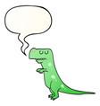cartoon dinosaur and speech bubble in smooth vector image vector image