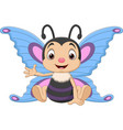 cartoon funny butterfly sitting and waving vector image vector image