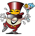 cartoon of a happy golden egg mascot celebrate it vector image vector image
