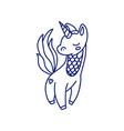 cartoon small unicorn in blue line vector image vector image