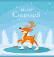 christmas reindeer skating on ice vector image vector image