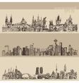 City Set Prague Toronto Seattle Vntage Engraved vector image vector image