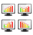 Computer monitors with graphs vector | Price: 3 Credits (USD $3)