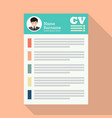 curriculum vitae or cv application paper sheet vector image vector image