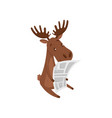 cute brown moose reading newspaper wild forest vector image vector image
