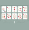 deck of diamonds from ace to ten of diamonds vector image