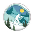 downhill skiing in paper art vector image