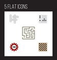 flat icon entertainment set of chess table gomoku vector image