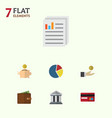 flat icon incoming set of document graph vector image vector image
