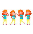 girl poses set high school child vector image vector image