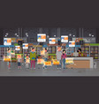 grocery shop customers identification surveillance vector image