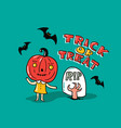 halloween card with stylish lettering - trick vector image