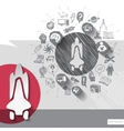 Hand drawn shuttle icons with icons background vector image vector image