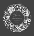 hand sketched french cuisine wreath on chalkboard vector image vector image