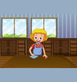 happy lady cleaning house vector image