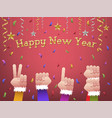 happy new year 2018 shaped hands vector image vector image