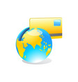 internet banking credit card with world map and vector image vector image