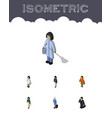 isometric human set of hostess lady housemaid vector image vector image