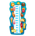 kids height chart cartoon fast food characters vector image