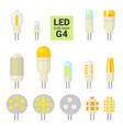 led light g4 bulbs colorful icon set vector image vector image