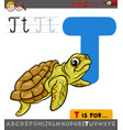 letter t with cartoon turtle animal vector image vector image