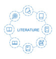 literature icons vector image vector image
