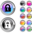 Lock multicolor round button vector image