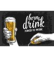 male hands holding a beer glass and computer mouse vector image vector image