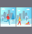man skiing and woman with kid vector image vector image