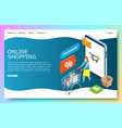 online shopping website landing page design vector image vector image