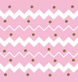 pinkish white zigzag pattern with gold hexagons vector image