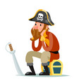 pirate captain sit on treasure chest character vector image vector image