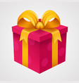 present red box with golden ribbon vector image vector image