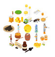 propolis honey apiary icons set isometric style vector image