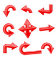 red 3d arrows different directions vector image vector image