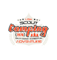 Scout camping emblem vector image vector image