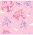 seamless pink pattern with horses vector image vector image