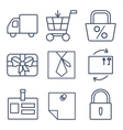 Set of line icons for shopping e-commerce vector image vector image