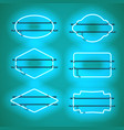 set of realistic glowing blue neon frames vector image vector image