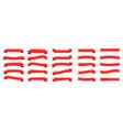 set of red ribbons flat ribbons vector image