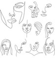 set surreal faces continuous line drawing vector image